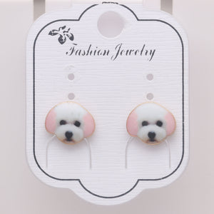 Bichon Frise Maltese White Puppy Dog Stud Earrings For Women Little Girls Teens Enamel From the Ginger Lyne Collection