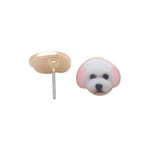 Load image into Gallery viewer, Bichon Frise Maltese White Puppy Dog Stud Earrings For Women Little Girls Teens Enamel From the Ginger Lyne Collection