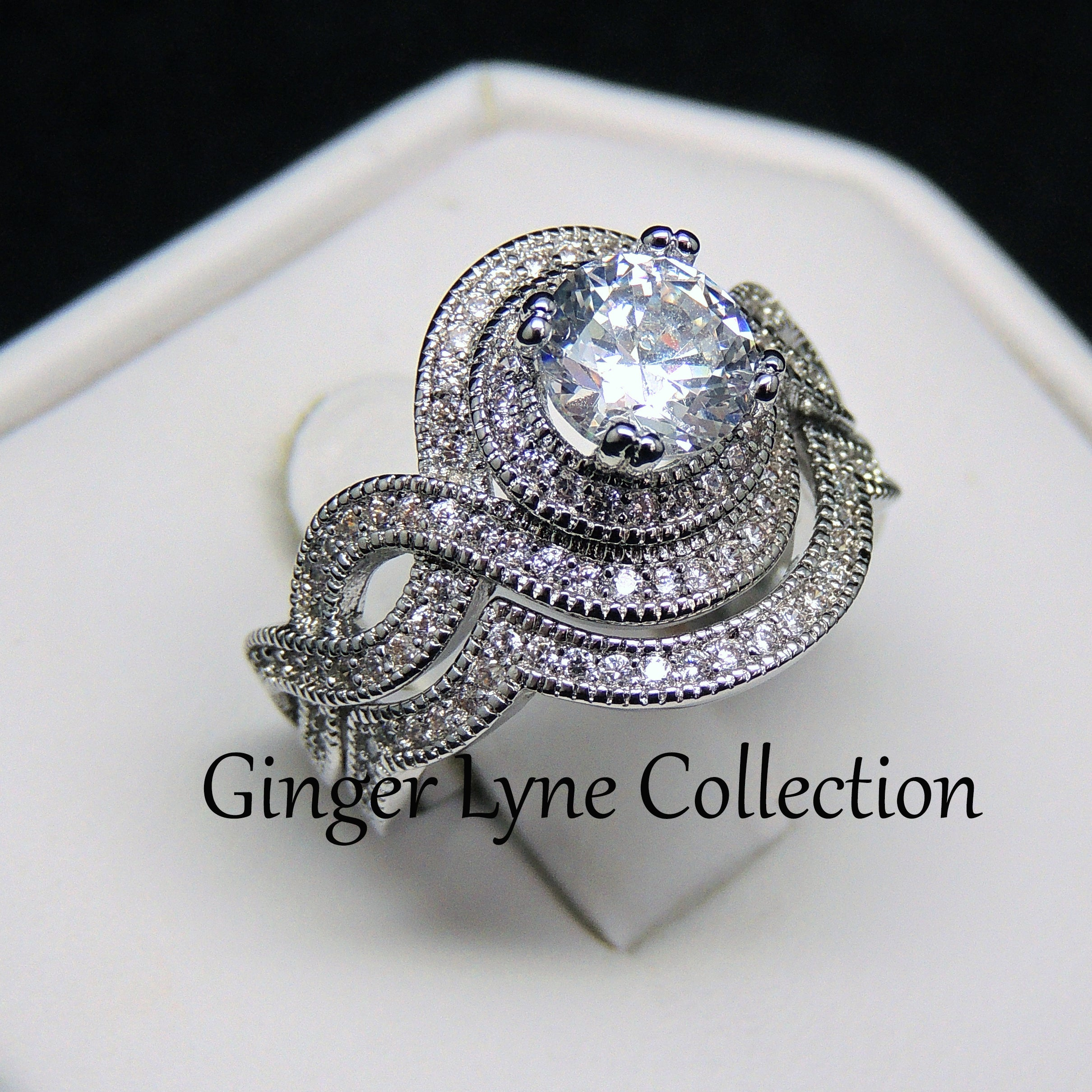 Bobbi Exquisite Halo Pave Wedding Ring Set - Ginger Lyne Collection