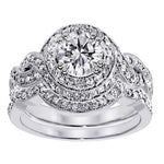 Load image into Gallery viewer, Bobbi Exquisite Halo Pave Wedding Ring Set - Ginger Lyne Collection