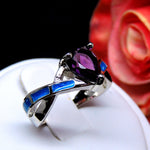 Load image into Gallery viewer, Bonnie Purple Pear Shape CZ Simulated Blue Opal Ring - Ginger Lyne Collection