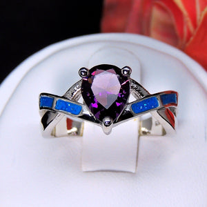 Bonnie Purple Pear Shape CZ Simulated Blue Opal Ring - Ginger Lyne Collection