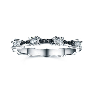 Braelynn Solid Sterling Silver Black CZ Eternity Wedding Bridal Band Ring Ginger Lyne Black Tie Collection