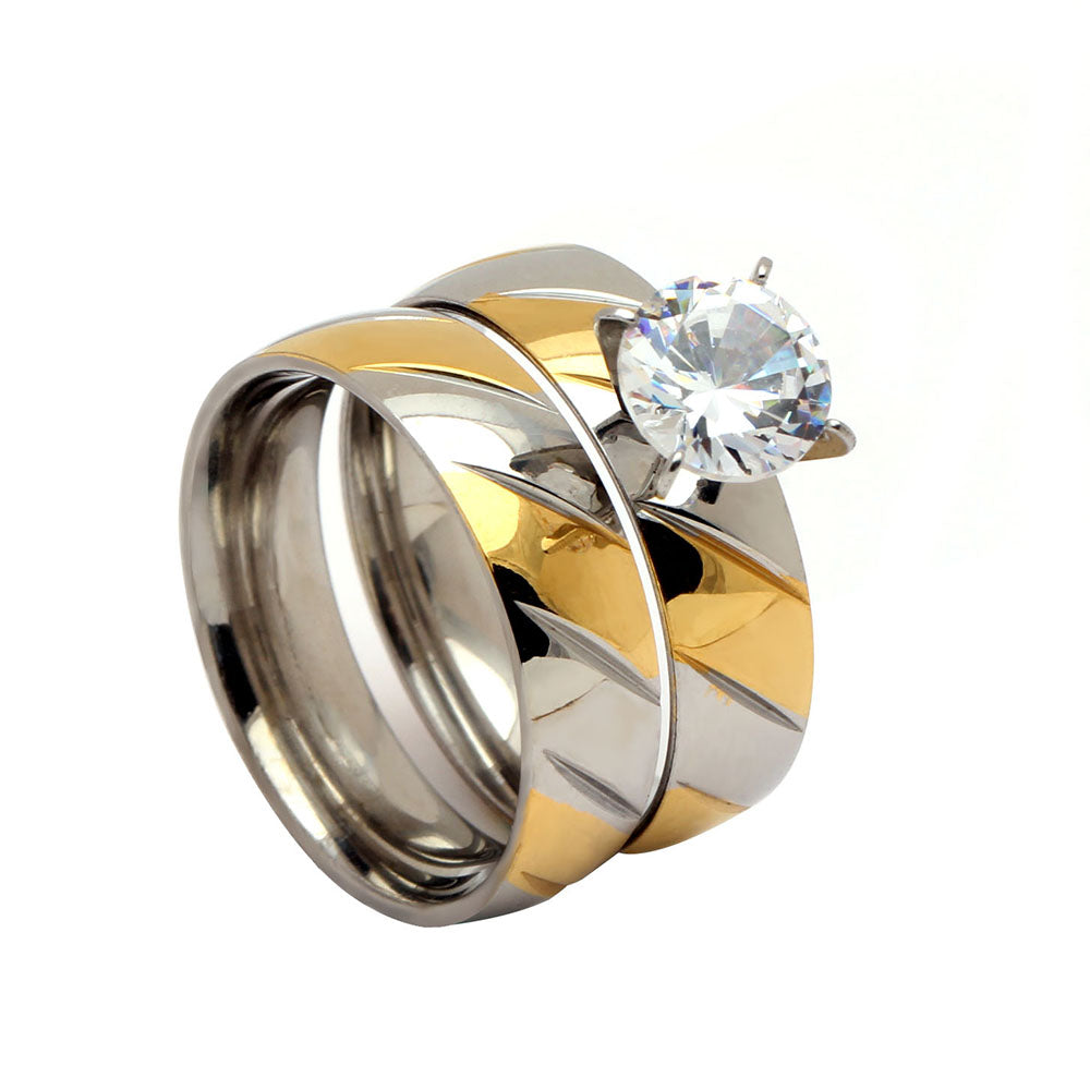 Bree Beautiful 2pcs Stainless Steel Engagement Wedding Ring and Band Set - Ginger Lyne Collection