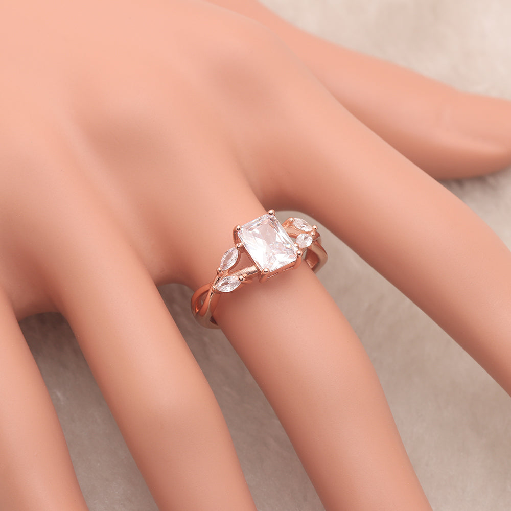 Brendi Rose Gold over Sterling Emerald Marquise Cut Engagement Wedding Bridal Ring Ginger Lyne Collection