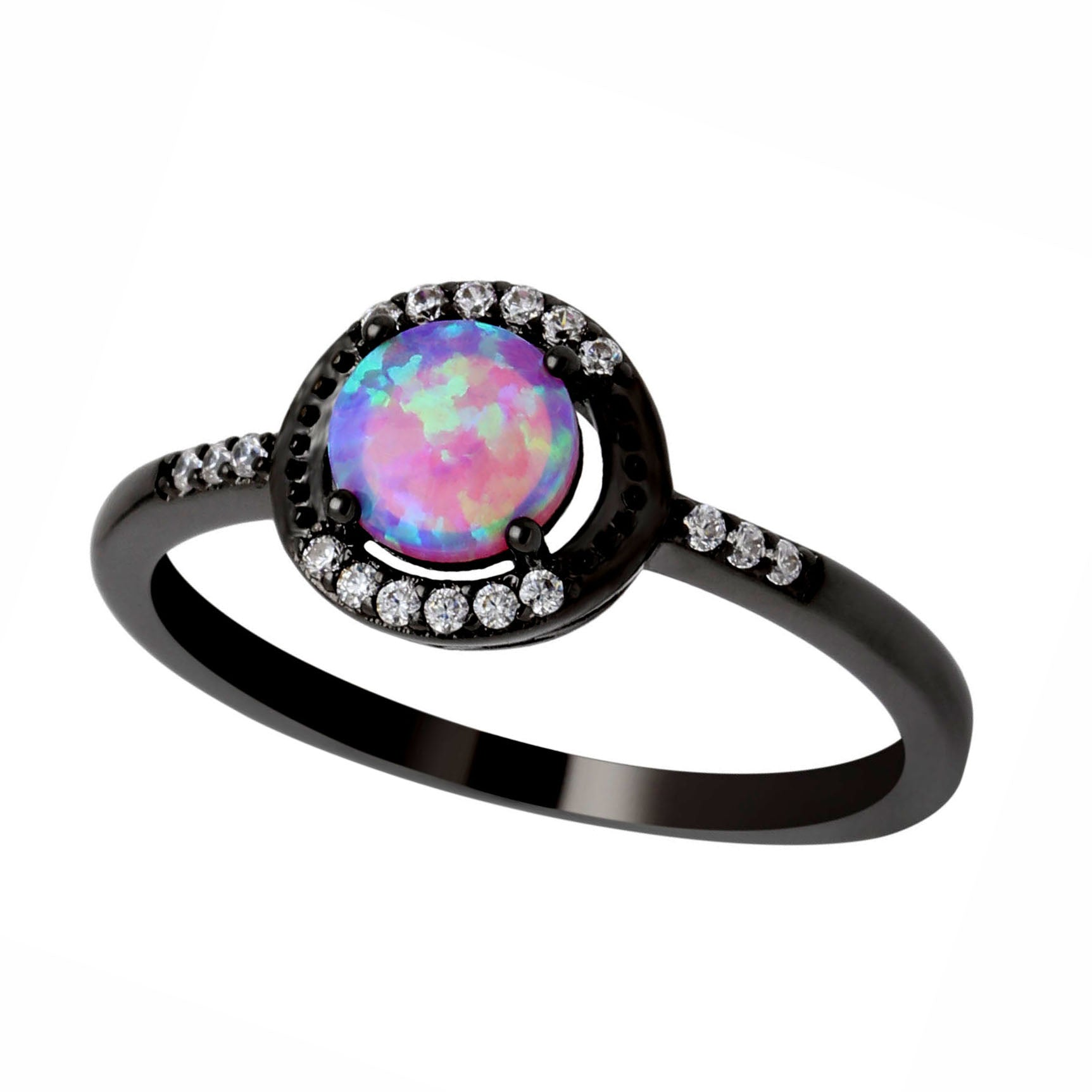 Brynn Black Plated Simulated Fire Opal Ring - Ginger Lyne Collection