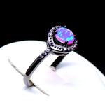 Load image into Gallery viewer, Brynn Black Plated Simulated Fire Opal Ring - Ginger Lyne Collection