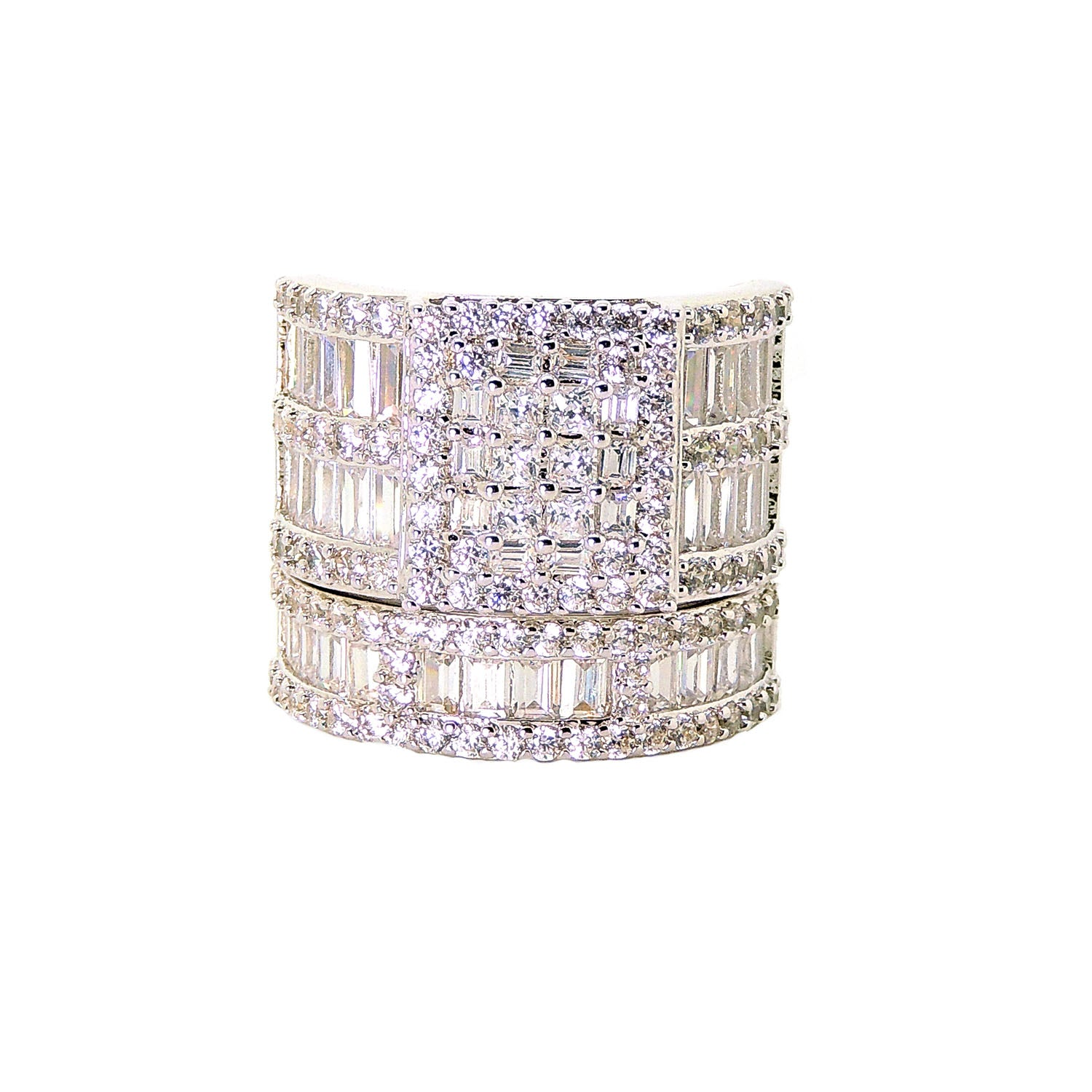 Camilla Square Cubic Zirconia Engagement Ring Wedding Band Bridal Set for Women by Ginger Lyne Ultra Wide Width Baguette and Round Multi Cut Stones Statement Piece Choice of Metal