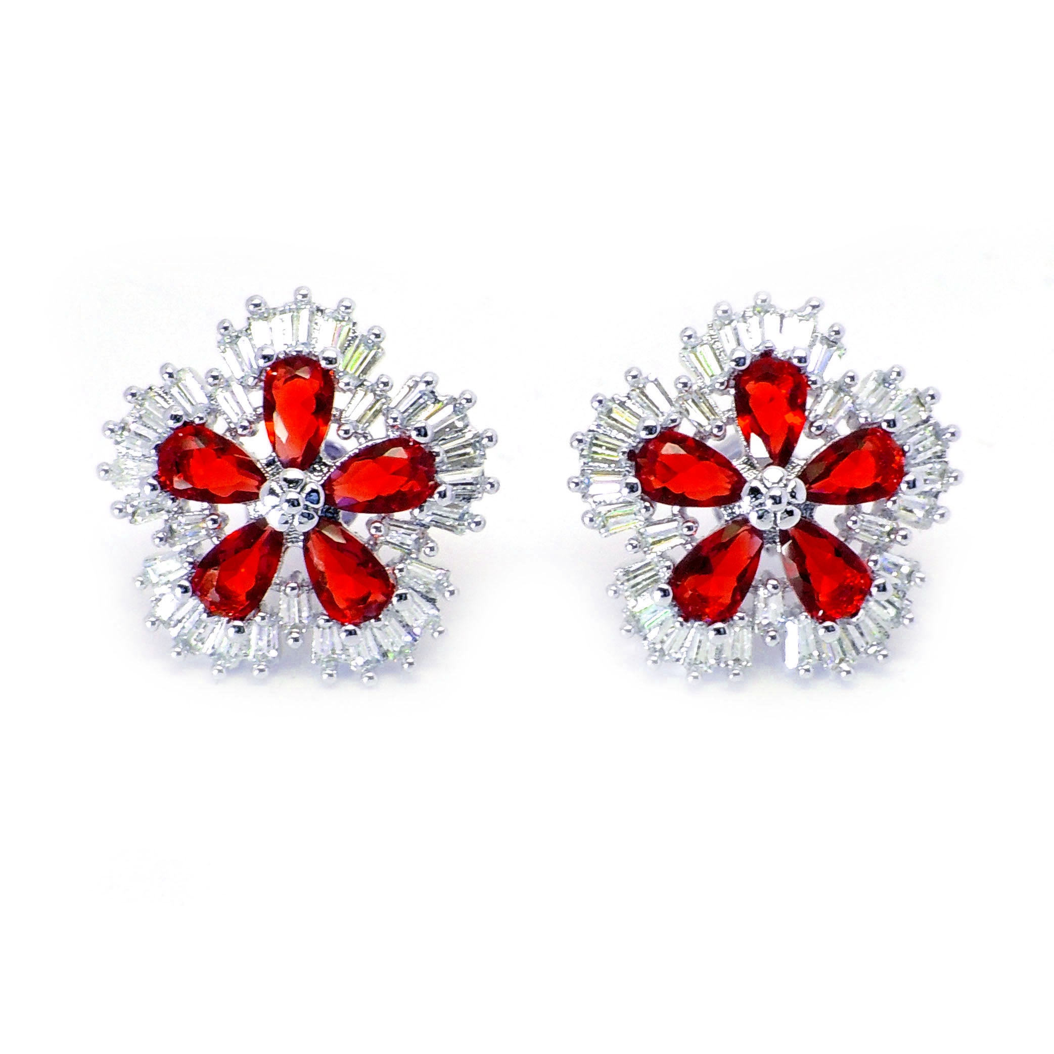 Camran Green or Red CZ Stud Earrings Ginger Lyne Collection