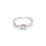 Load image into Gallery viewer, Carina Two Tone Rose Gold over Sterling Silver CZ Engagement Wedding Bridal Ring Ginger Lyne Collection