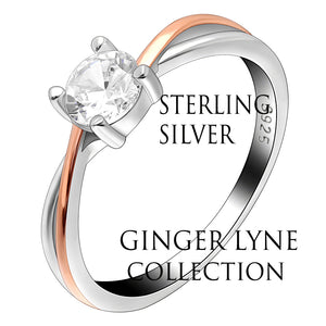 Carina Two Tone Rose Gold over Sterling Silver CZ Engagement Wedding Bridal Ring Ginger Lyne Collection