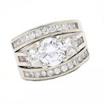 Load image into Gallery viewer, Carli Bridal Set Cz Womens 3 Stone Engagement Ring Band Ginger Lyne