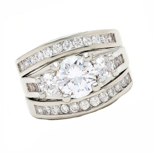 Carli Bridal Set Cz Womens 3 Stone Engagement Ring Band Ginger Lyne