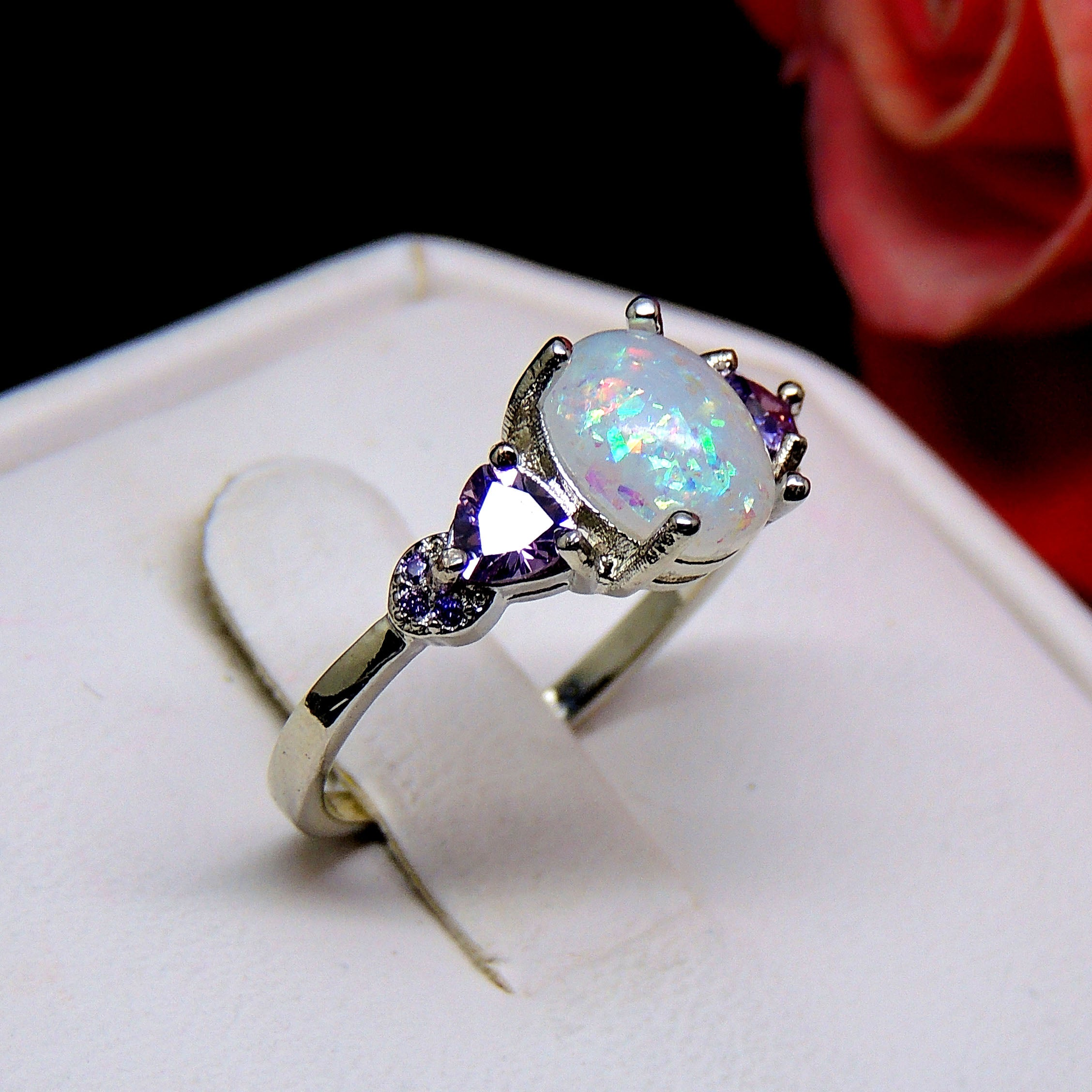 Celia Oval Simulated Fire Opal Purple Cz Ring Statement Engagement