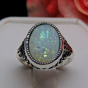 Chandler Simulated Fire Opal Filigree Setting Ring - Ginger Lyne Collection