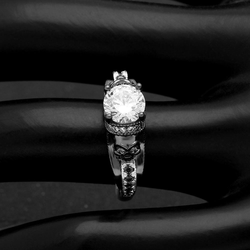Chasity Engagement Ring Women Black Skulls Goth Punk Style Ginger Lyne