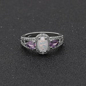Chelsey Engagement Ring Pink Oval Simulated Fire Opal Teardrop Purple Cubic Zirconia Halo Set October Birthstone Promise Wedding Rings for Women Girls Ginger Lyne Collection