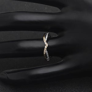 Chiara Two Tone Gold over Sterling Silver V Shape CZ Anniversary Wedding Bridal Band Ring Ginger Lyne Collection