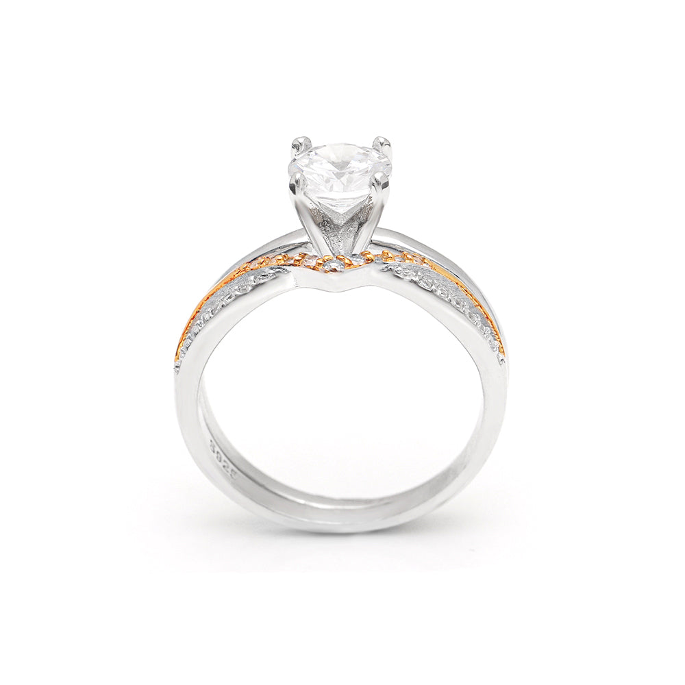 Chiara Solitaire Two Tone 925 Sterling Silver Engagement Ring Band Bridal Set Ginger Lyne Collection