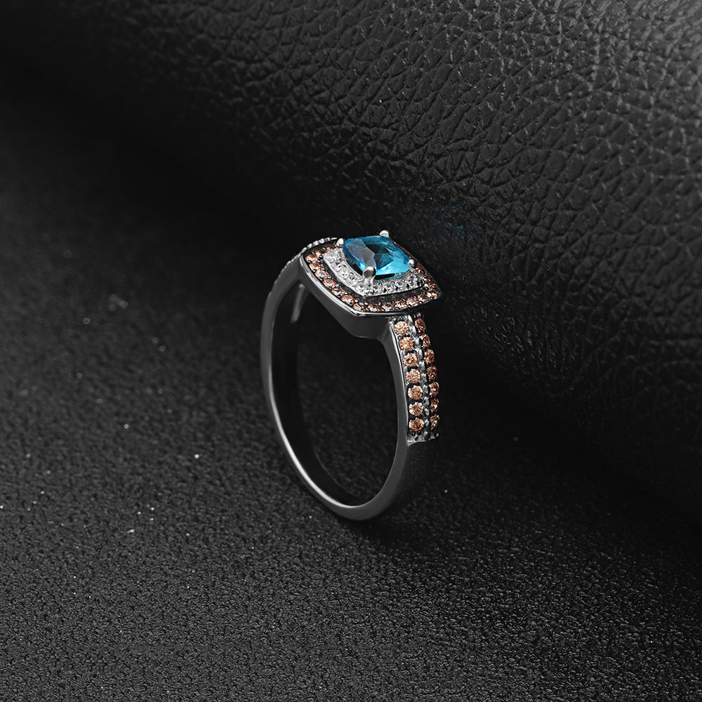 Coco Beautiful Chocolate and Blue Ring Genuine 925 Sterling Silver - Ginger Lyne Collection