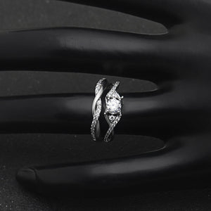 Contessa Engagement and Wedding Band Ring Set 925 Sterling Silver - Ginger Lyne Collection
