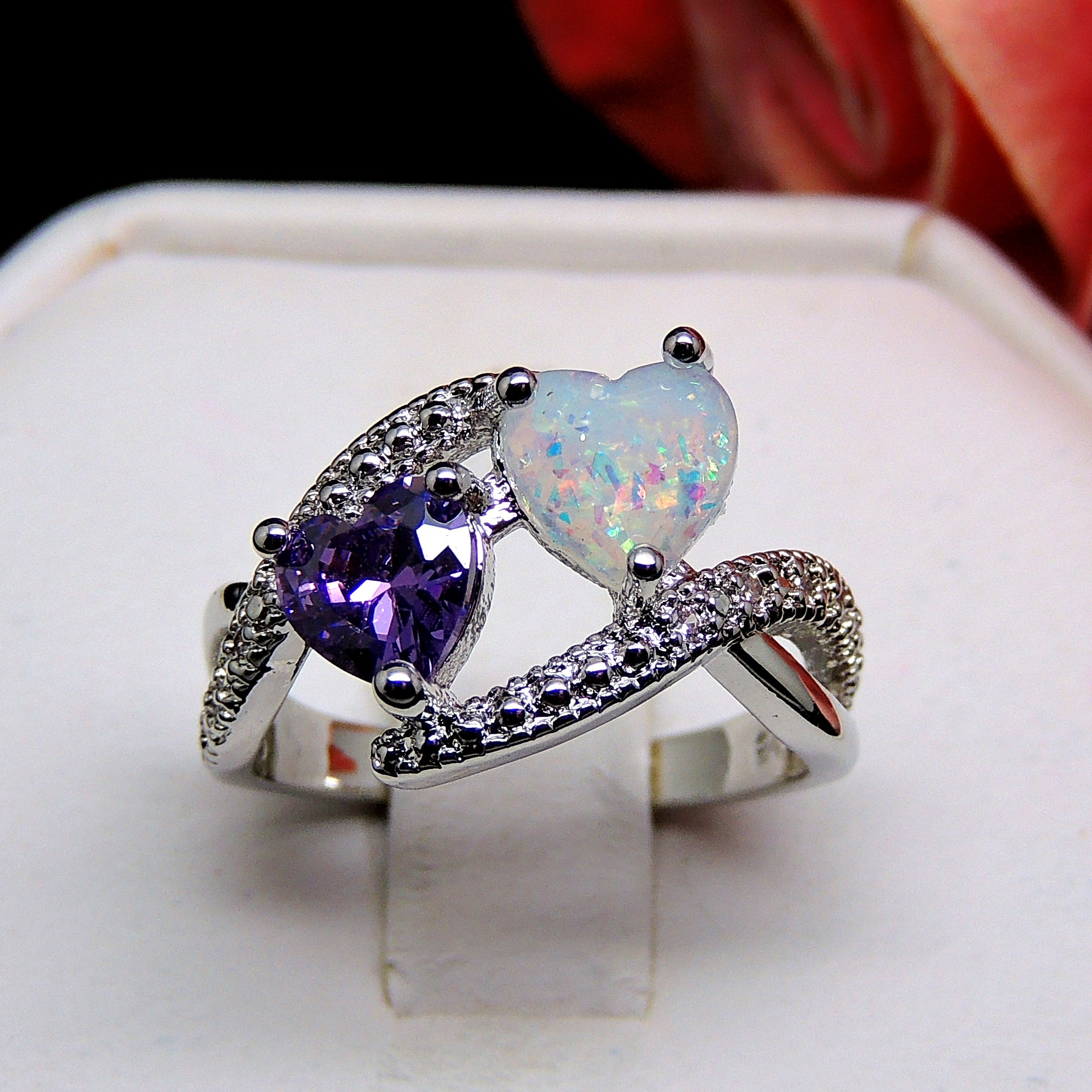 Cora Heart Shape Simulated Fire Opal Purple CZ Ring - Ginger Lyne Collection