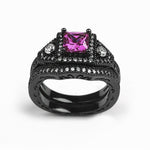 Load image into Gallery viewer, Danielle Bridal Set Black Purple Pink or Blue Cubic Zirconia Black Plated Wedding Band Engagement Ring for Women by Ginger Lyne Gothic Birthstone Fashion Jewelry