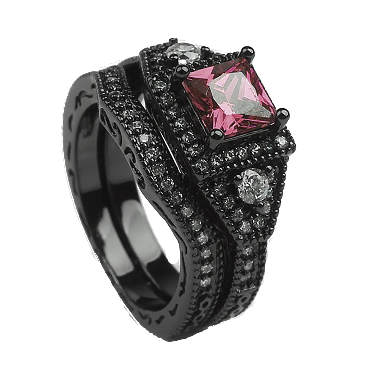 Danielle Bridal Set Black Purple Pink or Blue Cubic Zirconia Black Plated Wedding Band Engagement Ring for Women by Ginger Lyne Gothic Birthstone Fashion Jewelry