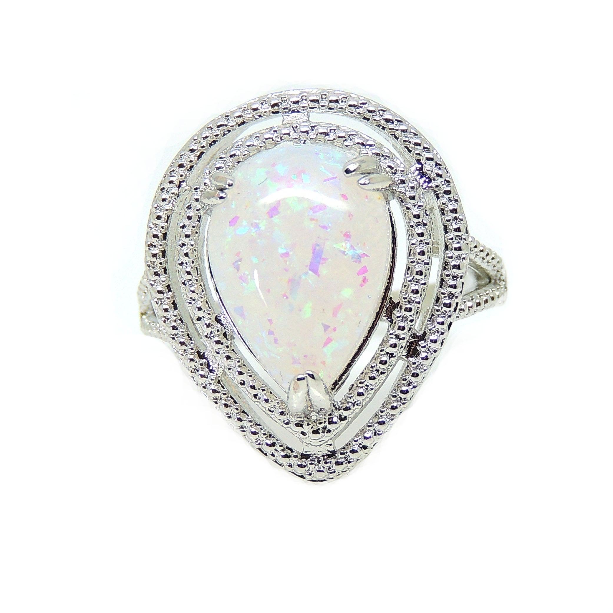 Danni Teardrop Shape Simulated Fire Opal Ring - Ginger Lyne Collection
