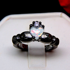 Darlina Black Claddagh Princess Crown Simulated Fire Opal Ring - Ginger Lyne Collection