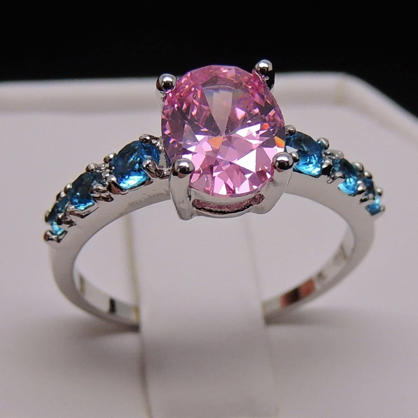 Deanna Classy Pink and Blue Cubic Zirconia Engagement Ring - Ginger Lyne Collection