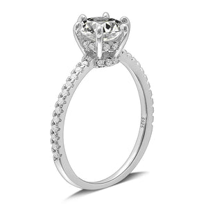 Ginger Lyne Collection Devonne Sterling Silver 6.5mm CZ Engagement Bridal Ring