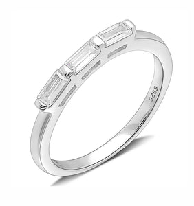 Dione Sterling Silver Baguette CZ Anniversary Band Wedding Ring Ginger Lyne Collection