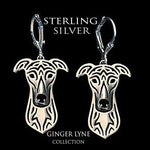 Load image into Gallery viewer, Greyhound Dog Sterling Silver Necklace Dangle Earrings Set by Ginger Lyne Puppy Dog Lovers Pet Pendant Box Chain Doggie Animal Paw Print Heart Jewelry for Pit Mom Women Girls Teens