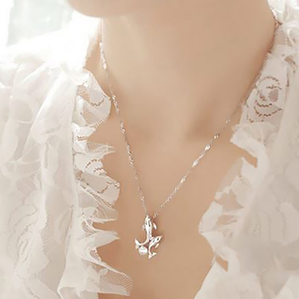 Dolphin Pendant Chain Necklace for Women Girls Teens Beach Fashion Jewelry by Ginger Lyne Collection