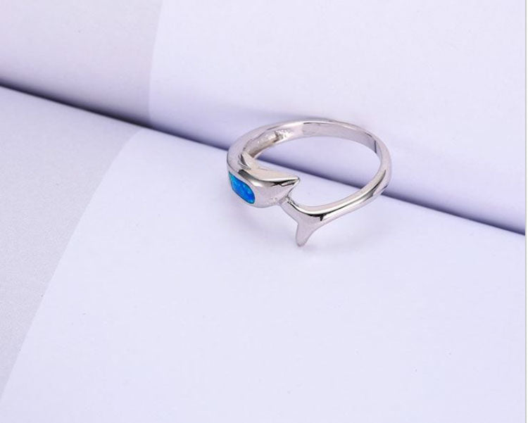 Dolphin Simulated Fire Opal Ring - Ginger Lyne Collection