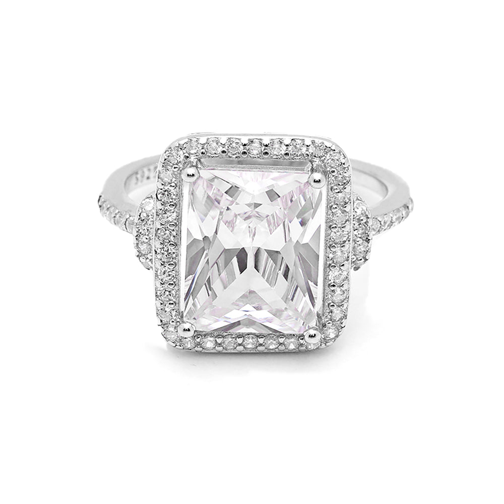 Ginger Lyne Collection Dorian Sterling Silver Emerald Cut CZ Engagement Bridal Ring