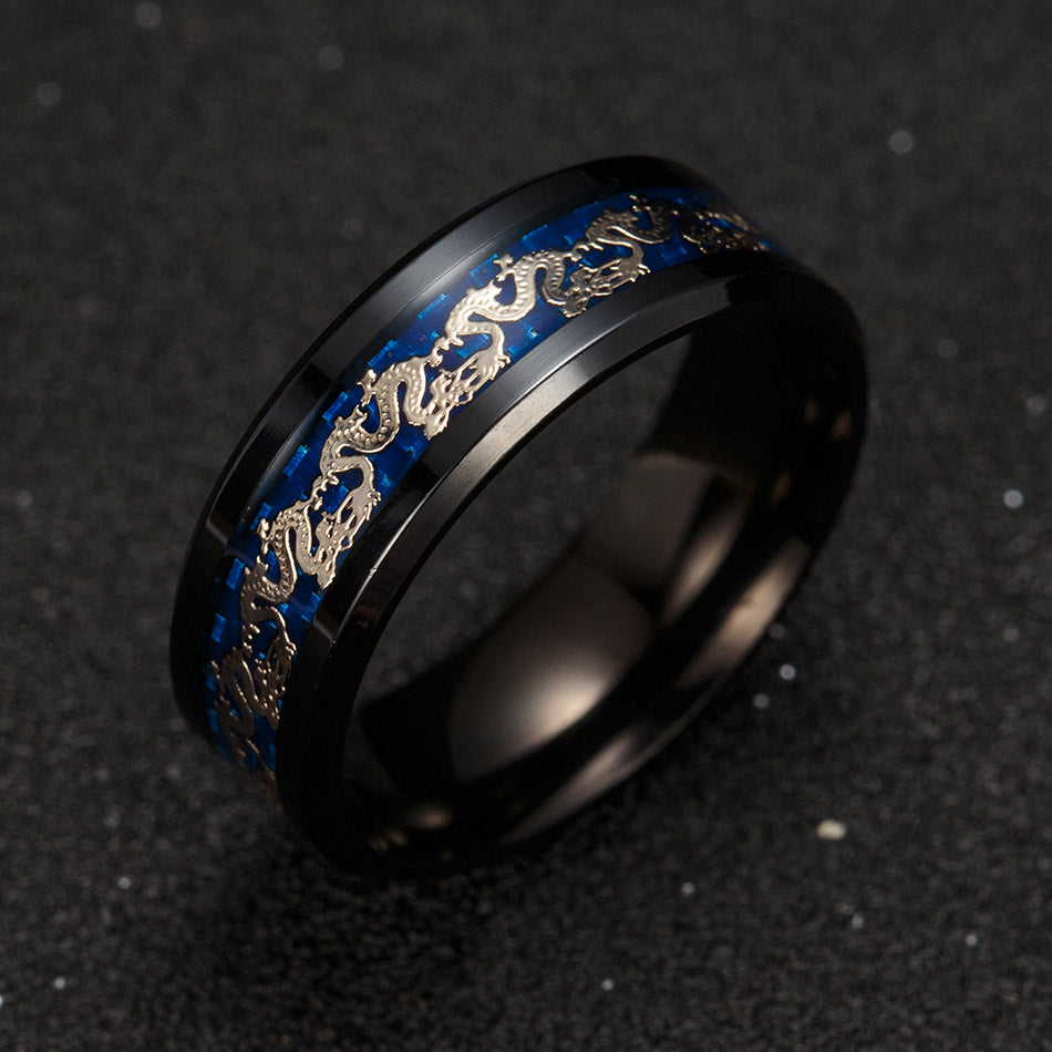 Dragon Black Stainless Steel Comfort Fit Band Ring - Ginger Lyne Collection