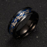 Load image into Gallery viewer, Dragon Black Stainless Steel Comfort Fit Band Ring - Ginger Lyne Collection