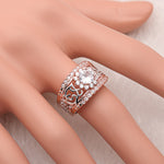 Load image into Gallery viewer, Ginger Lyne Collection Elin Rose over Sterling Silver CZ Filigree Engagement Bridal Ring