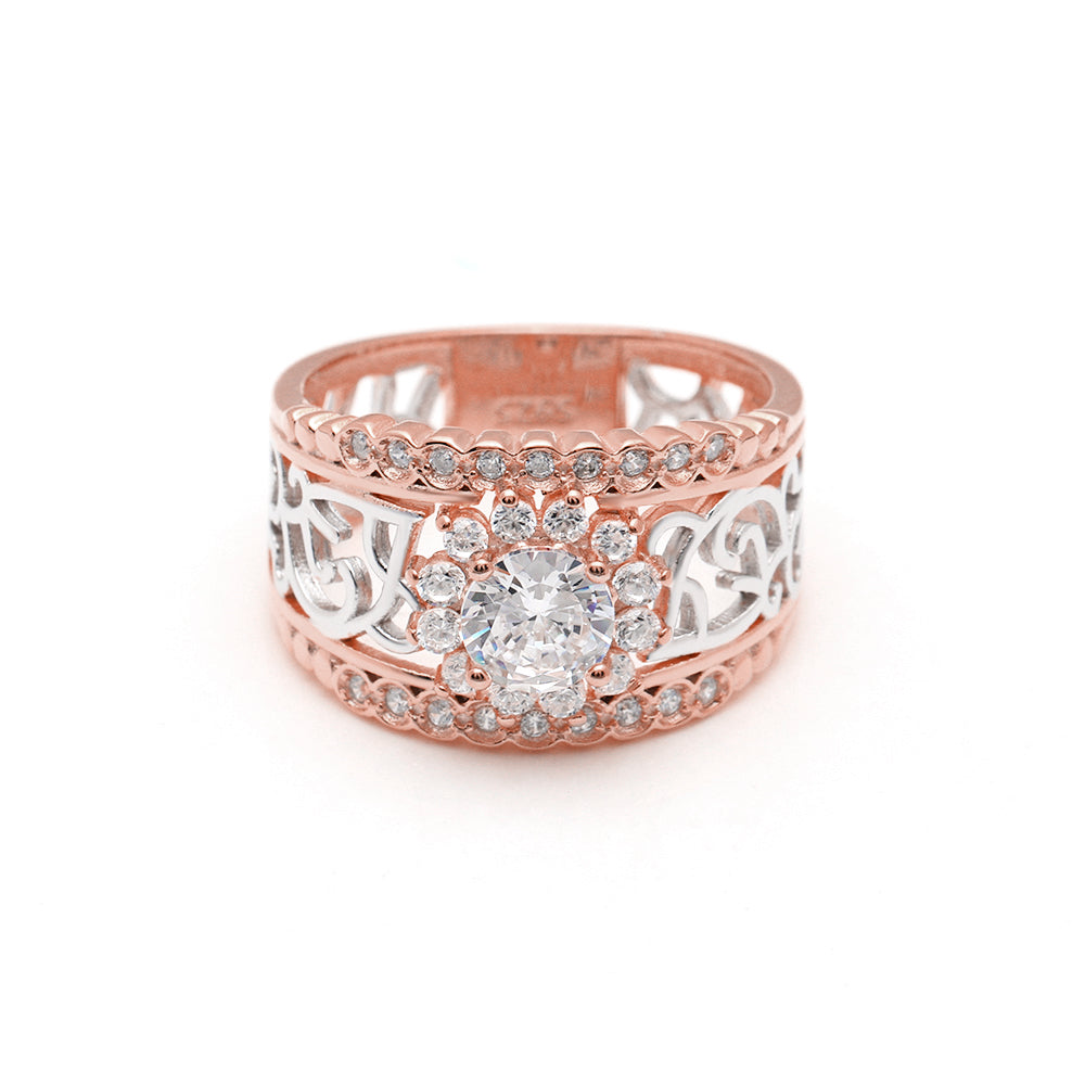 Ginger Lyne Collection Elin Rose over Sterling Silver CZ Filigree Engagement Bridal Ring
