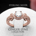 Load image into Gallery viewer, Ellalee Rose Gold Over Sterling Silver Engagement Bridal Wedding Ring Ginger Lyne Collection