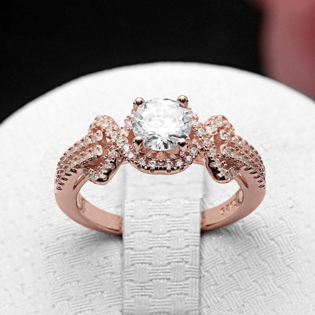 Ellalee Rose Gold Over Sterling Silver Engagement Bridal Wedding Ring Ginger Lyne Collection