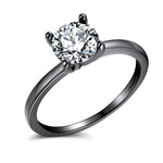 Load image into Gallery viewer, Envy Sterling Silver Engagement Ring Round Hearts And Arrows Cut 1.5 Ct Clear or Black Cubic Zirconia Bridal Promise Wedding Jewelry for Women by Ginger Lyne Fashion Jewelry