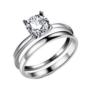 Envy Bridal Set Sterling Silver Solitaire 1.25Ct Cubic Zirconia Classic 4 Prong Setting Engagement Ring Wedding Band Fashion Jewelry By Ginger Lyne