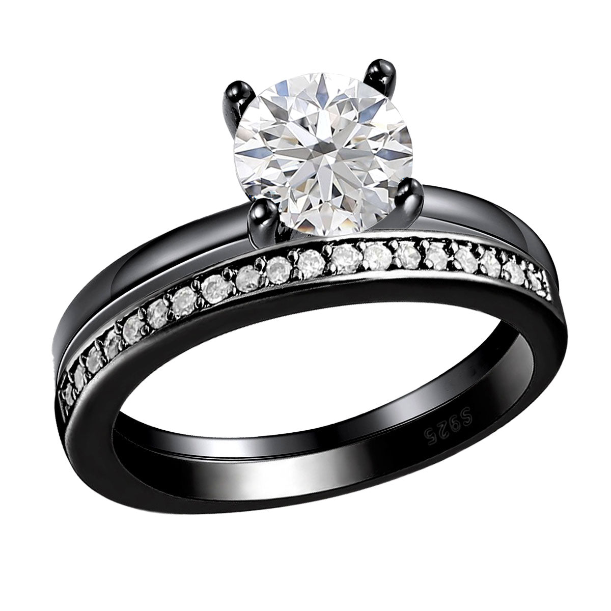 Envy Sterling Silver Engagement Ring Round Hearts And Arrows Cut 1.5 Ct Clear or Black Cubic Zirconia Bridal Promise Wedding Jewelry for Women by Ginger Lyne Fashion Jewelry