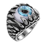 Load image into Gallery viewer, Stainless Steel Blue Evil Eye Eyeball Ring Mens Womens Biker Punk Ginger Lyne Collection