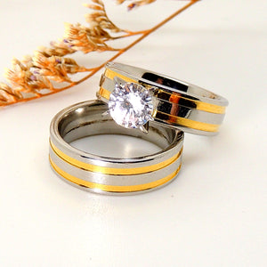 Fawn Beautiful 2pcs Stainless Steel Engagement Wedding Ring and Band Set - Ginger Lyne Collection
