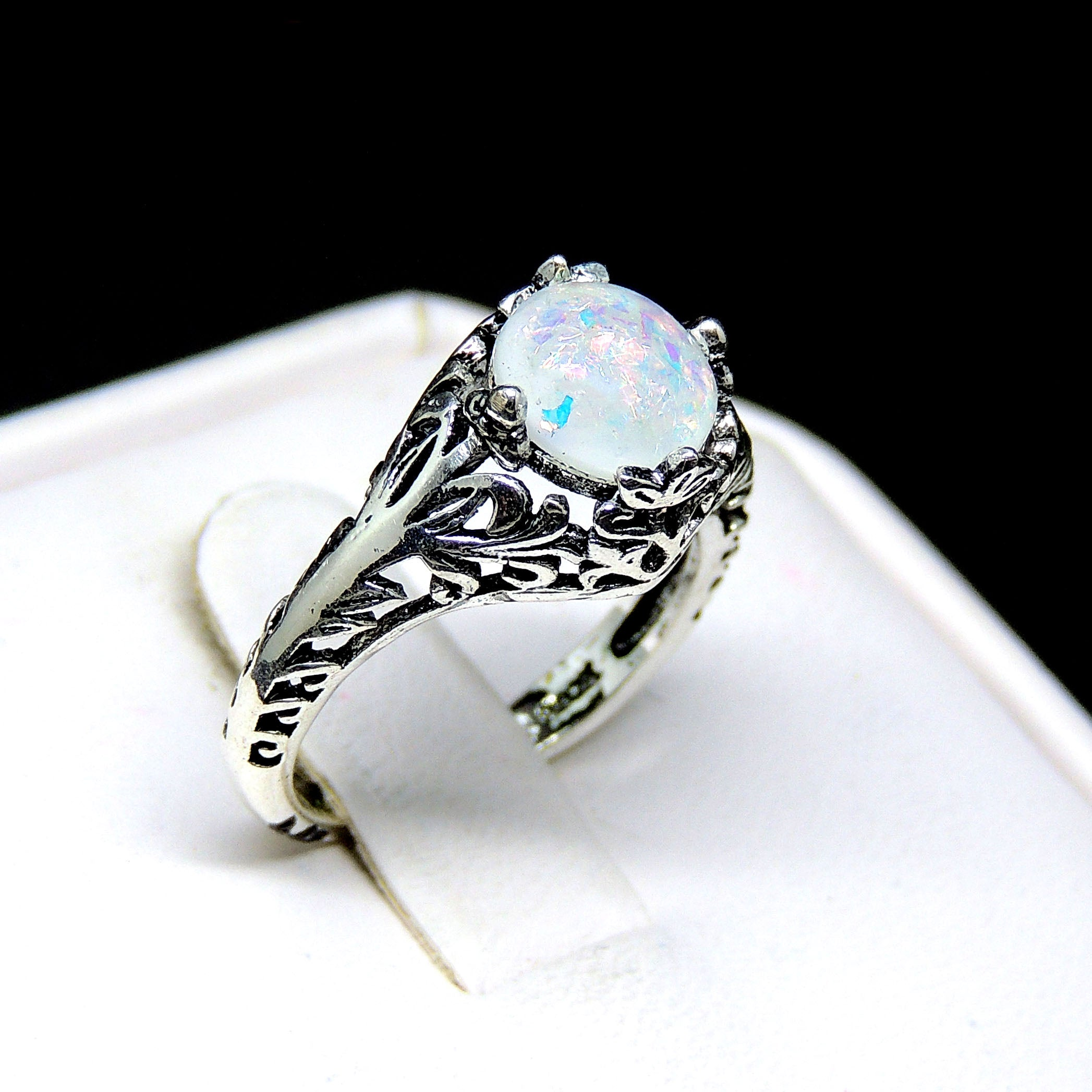 Fran Simulated Fire 8mm Opal Antiqued Filigree Ring - Ginger Lyne Collection