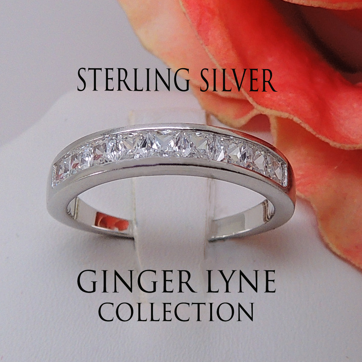Georgia Anniversary Band 925 Sterling Silver Ring Princess Cut- Ginger Lyne Collection